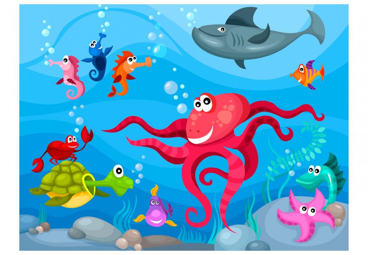 Dìtská fototapeta Chobotnice a žralok