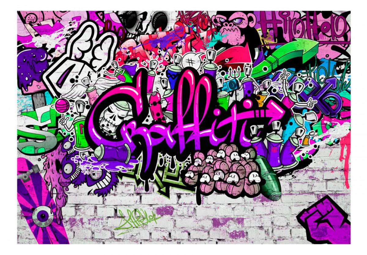 Dìtská fototapeta Fialové graffiti