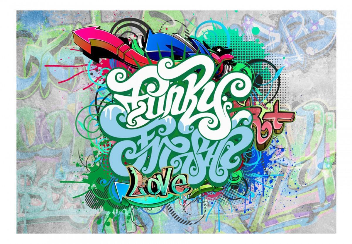Dìtská fototapeta Graffiti v mátové - zvìtšit obrázek