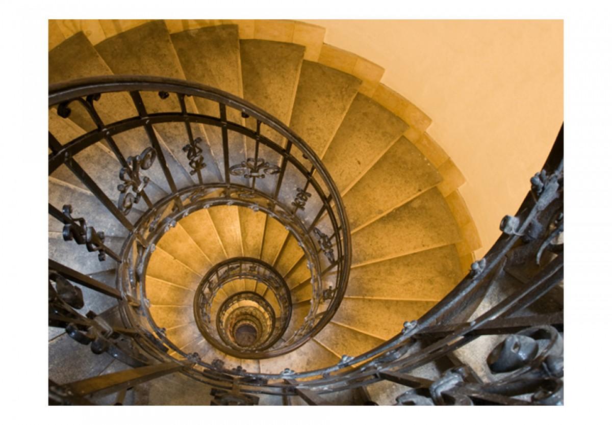 3D tapeta Žluté toèící schody