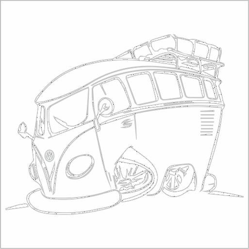 Samolepka karikatura Volkswagen T1