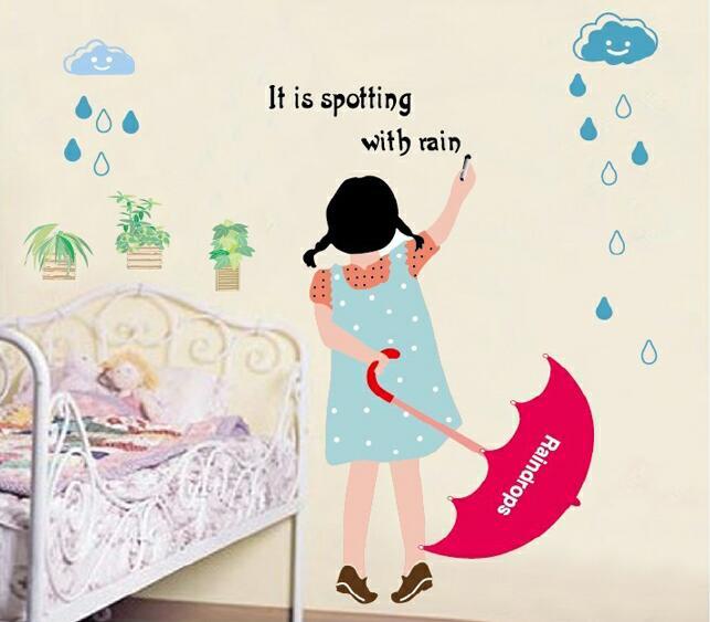 Samolepka na zeï pro dìti Holèièka s deštníkem
