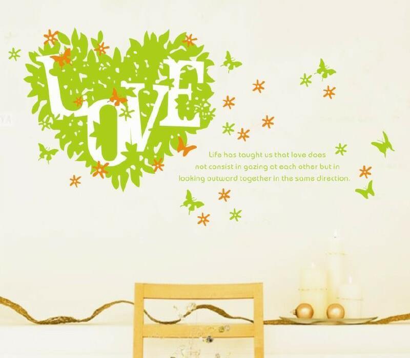 Samolepka na zeï rùzné Zelené srdce