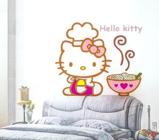 Hello Kitty a dobrùtka Samolepka na zeï pro dìti