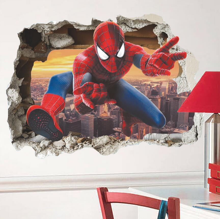 3D samolepka na zeï Spiderman s výhledem