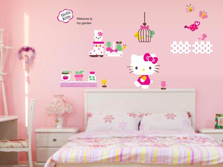 Samolepka na zeï Hello Kitty na zahrádce - zvìtšit obrázek