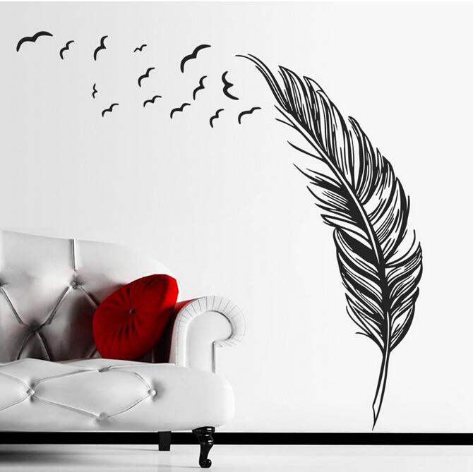 Samolepka na zeï Pírko s ptáky - zvìtšit obrázek