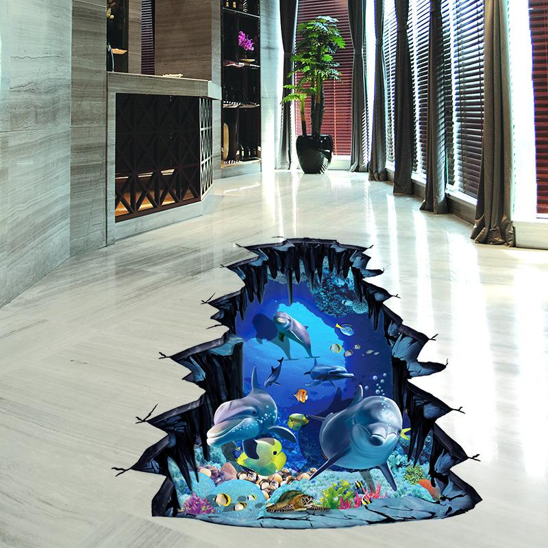 3D samolepka na podlahu Delfíni