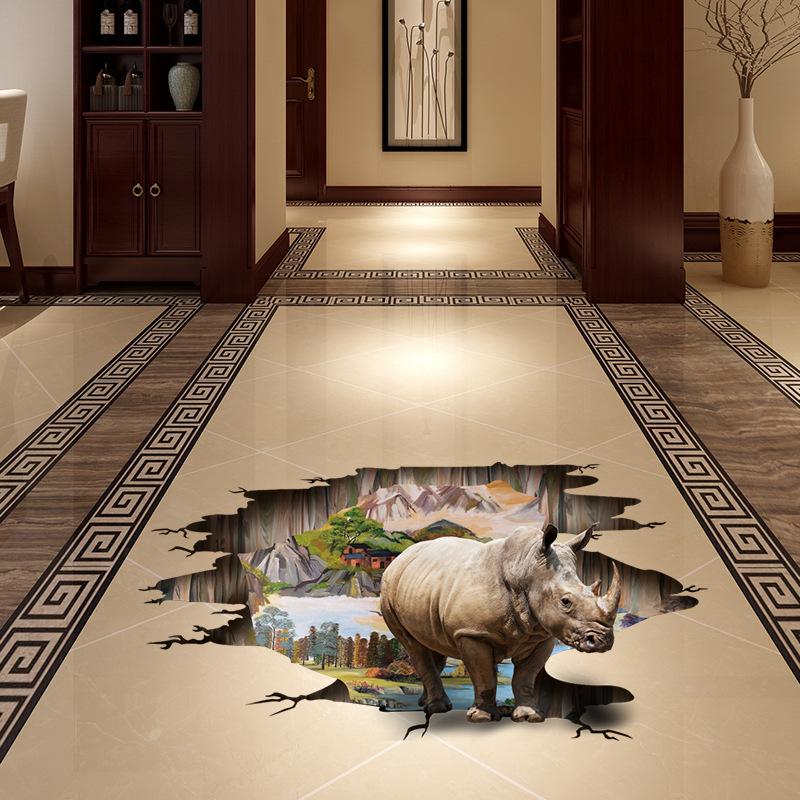 3D samolepka na podlahu Nosorožec - zvìtšit obrázek