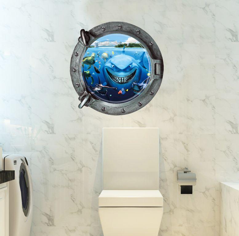 3D samolepka na zeï Okno se žralokem