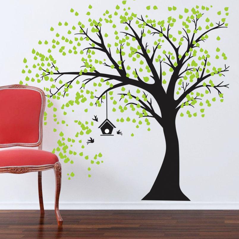 Samolepka na zeï Strom s ptaèí budkou - zvìtšit obrázek