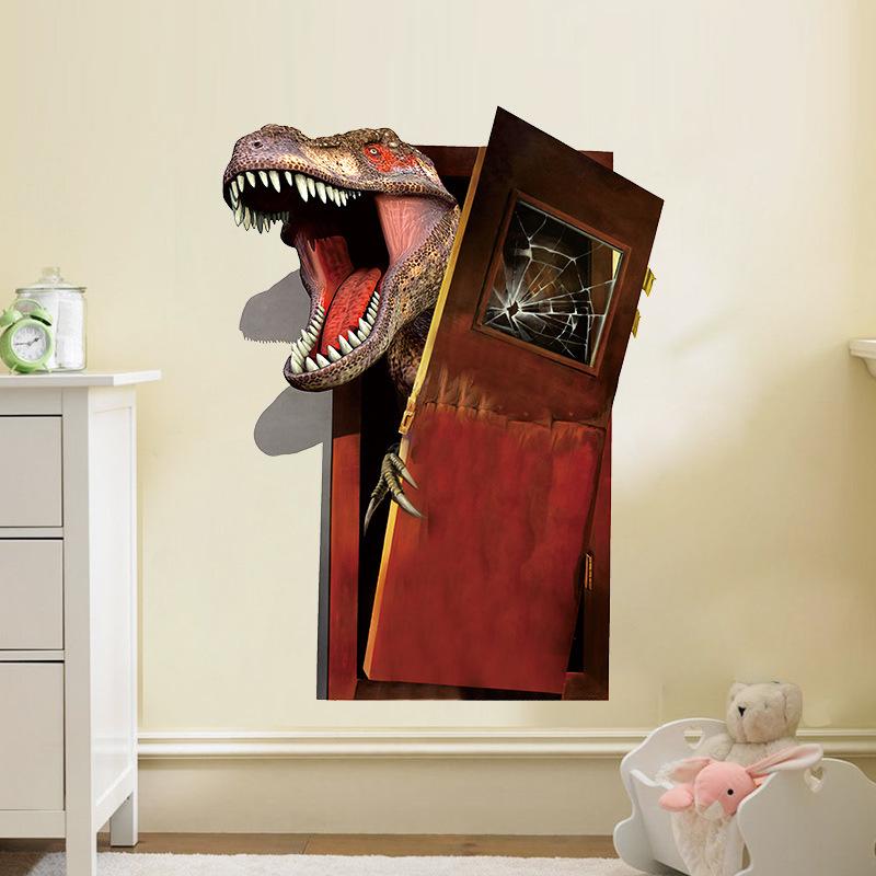 3D samolepka na zeï Dinosaur za dveømi - zvìtšit obrázek