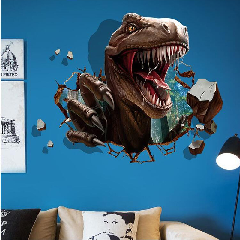 3D samolepka na zeï Útok dinosaura