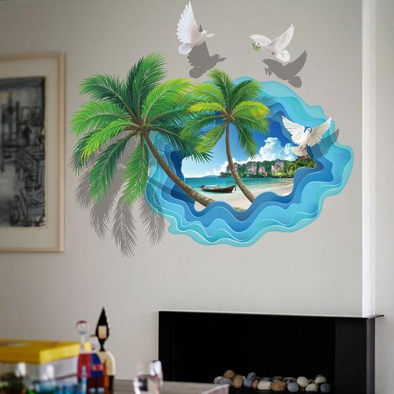 3D samolepka na zeï Palmy na pláži - zvìtšit obrázek