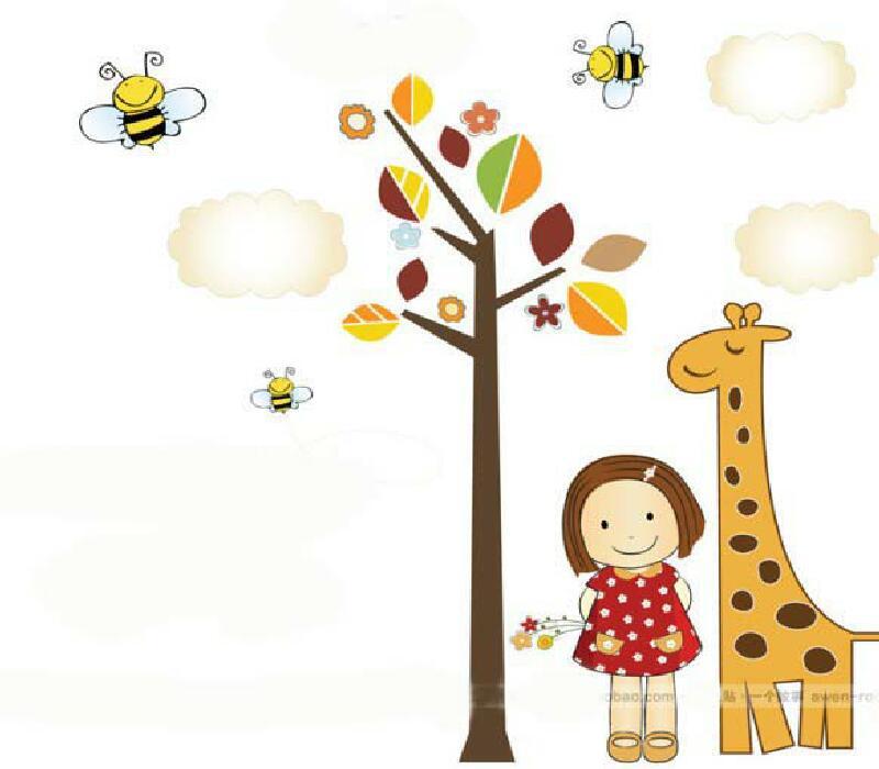 Samolepka na zeï pro dìti Veselá žirafa