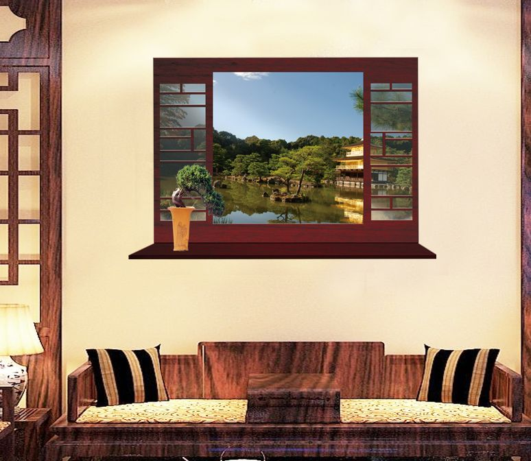 Okno s asijským jezírkem