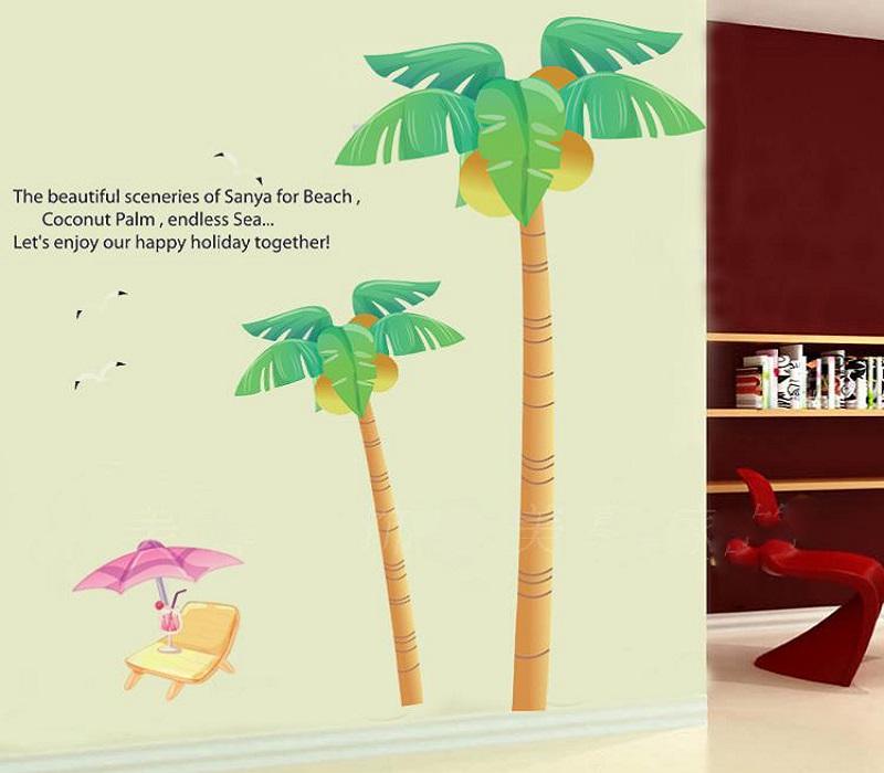 Samolepka na zeï strom Kokosové palmy
